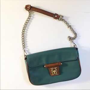 Olivia Harris Teal and Brown Leather Shoulder Bag